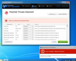 """Step 4.5.4: When the scan has completed, you will now be presented with a screen showing you the malware infections that Malwarebytes' Anti-Malware has detected. To remove the malicious programs that Malwarebytes Anti-malware has found, click on the """"Quarantine All"""" button, and then click on the """"Apply Now"""" button."""
